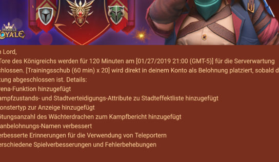 Mobile Royale Update am 28.01.2019